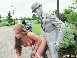 Sweet girl with big natural boobies Alessandra James gets rammed outdoors by a freaky dude