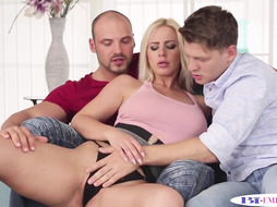 Hunky Bisex Couple Sharing Pussy In Mmf Trio