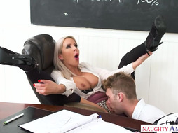 Nina Elle is a big titted, blonde teacher, who is always in the mood to suck cock